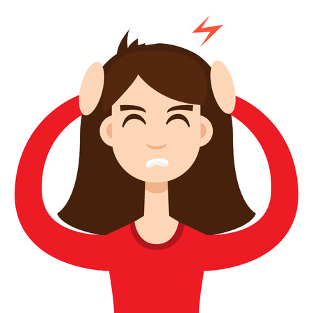 Headache girl. High blood pressure concept Illustration