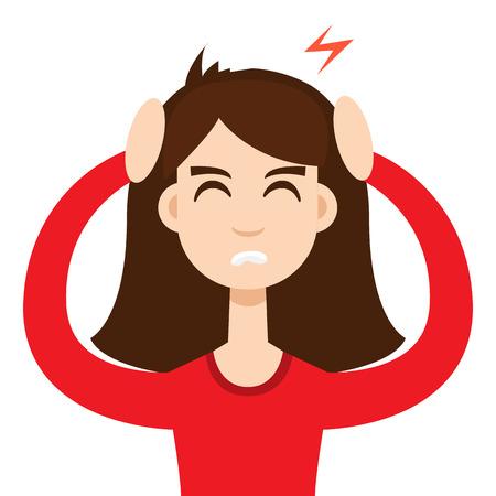 woman headache: Headache girl. High blood pressure concept Illustration