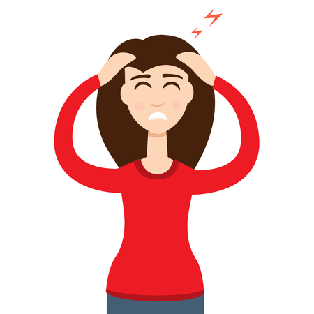 high pressure: Headache girl. High blood pressure concept Illustration