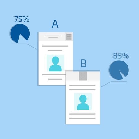 comparison: A-B comparison. Split testing. Concept computer vector illustration