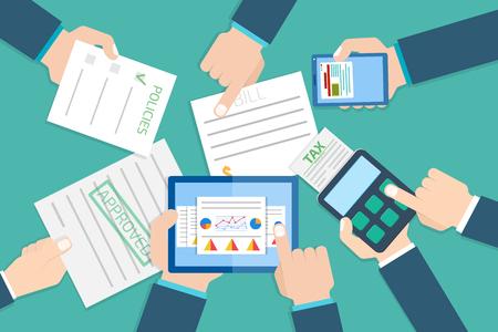 examiner: Financial research report.  Financial examiner. Vector illustration. Illustration