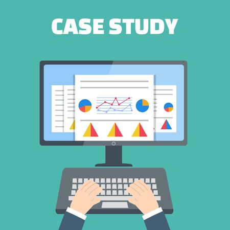 case binder: Case study concept vector with computer device Illustration