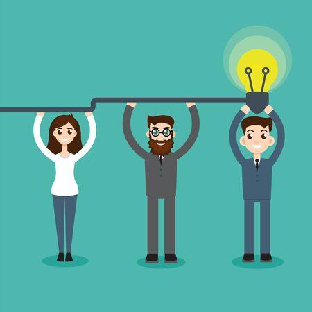 Synergy concept. Man hold bulb