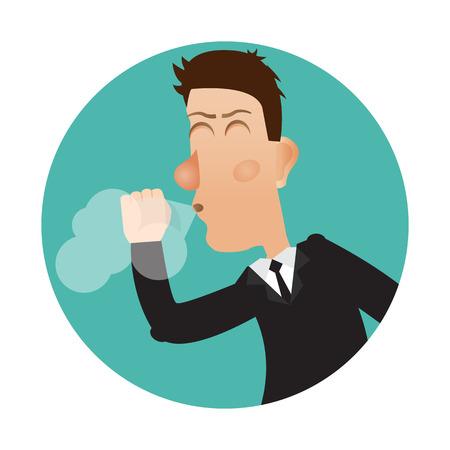 cough: Cough icon. Cough man.