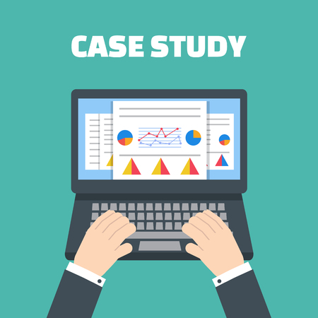 Case study concept vector with computer device Ilustracja
