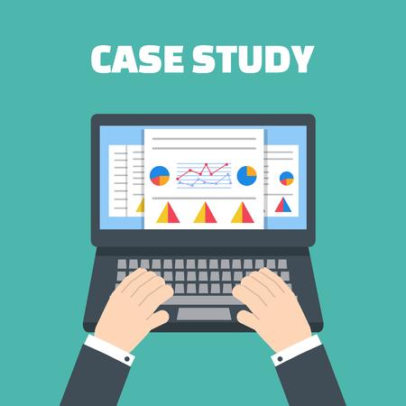 case: Estudio de caso del vector del concepto con el dispositivo de la computadora Vectores