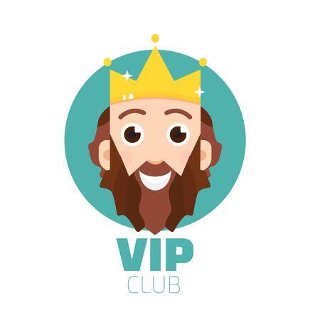members only: VIP club logo. VIP Club members only logo. Diadem vector logo. King logo vector. Illustration