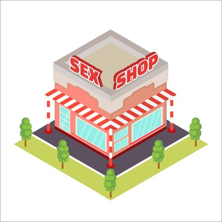 Sex Shop isometric icon Illustration
