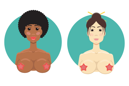 African-American and Asian girl nude. Online sex icon. XXX icon. Whore or hooker  icon. Boobs icon
