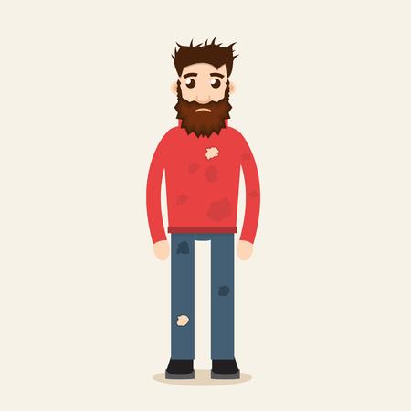 Poor Beggar vector illustration Illustration