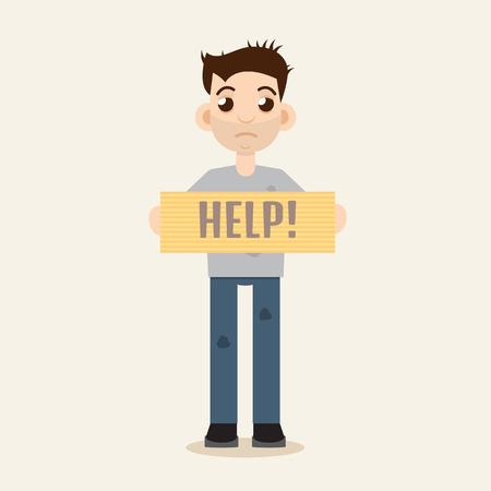 needy: Poor Beggar vector illustration Illustration