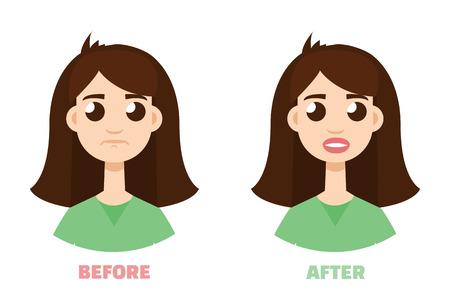 Lip augmentation. Permanent makeup. Volume lipstick