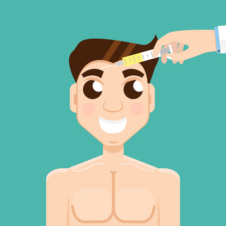 beauty surgery: Plastic surgery man. Beauty injections, Hyaluronic Acid injections.