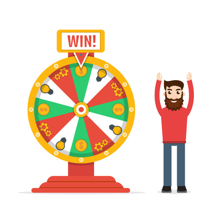 wheel of fortune: Wheel of fortune with man Illustration