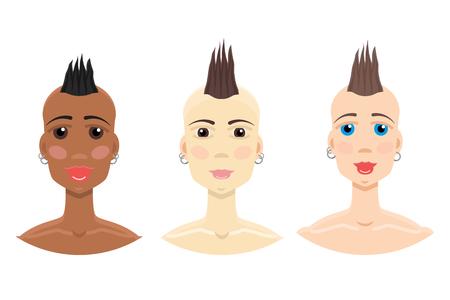 Mohawk hairstyle girl set Illustration