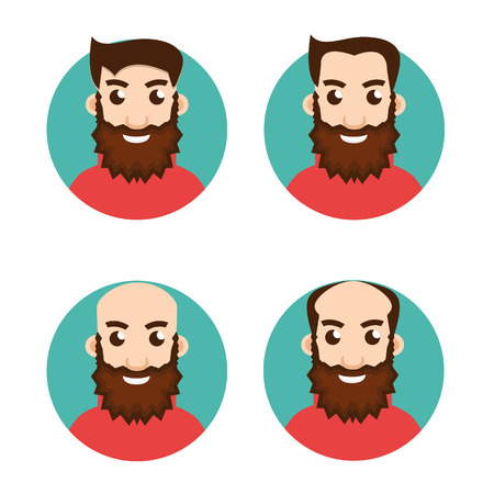 shaved head: Stages Of Hair Loss icon Illustration