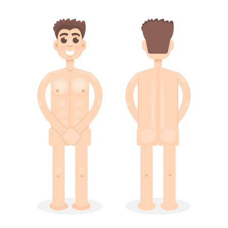 naked man: Nude, unclad, naked man, front, back view ftat style character Illustration