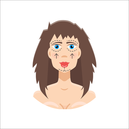 wrinkled face: Plastic surgery icon Illustration