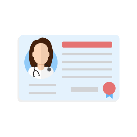 credential: license doctor woman Illustration