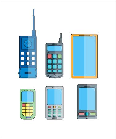 telephone icons: Phone evolution icons. Communication telephone progress.