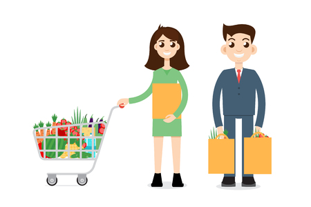 family shopping: Family Shopping. Man with shopping cart Illustration