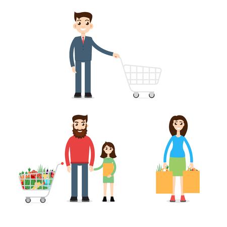 shopping family: Family Shopping. Man with shopping cart Illustration