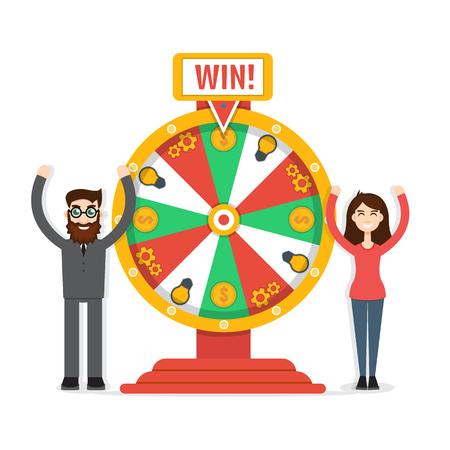 rueda de la fortuna: Rueda de la fortuna con hombre y mujer