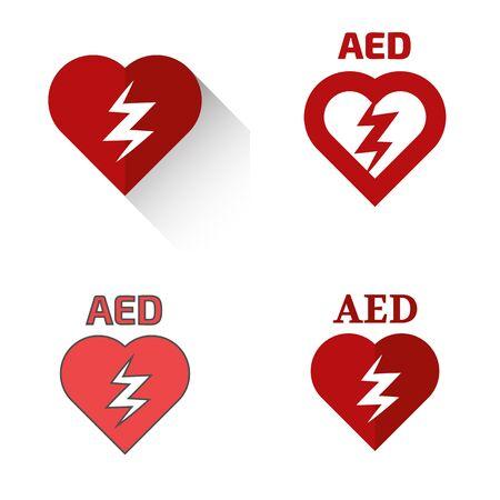 Defibrillator icons set