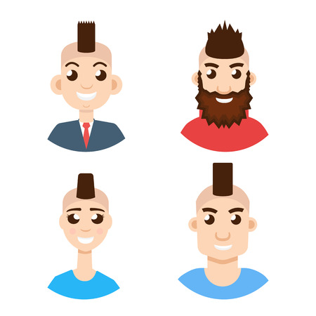 Mohawk hairstyle character avatar set