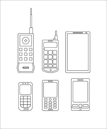 telephone icons: phone evolution icons linear. Communication telephone progress Illustration