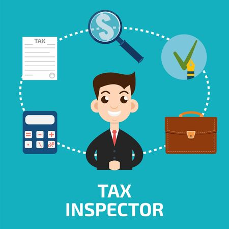 inspector: Tax inspector icon flat style