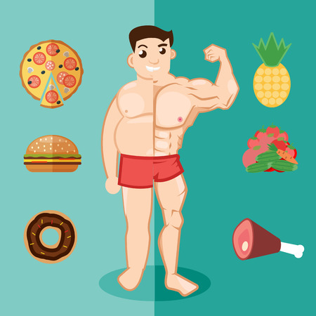 unhealthy lifestyle: Unhealthy lifestyle, fat man, obesity. Man before and after fitness Illustration