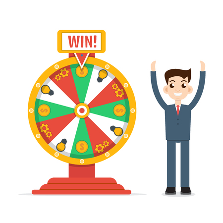 fortune: Wheel of fortune with man Illustration