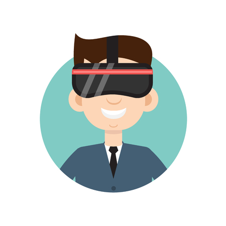 VR helmet man flat icon
