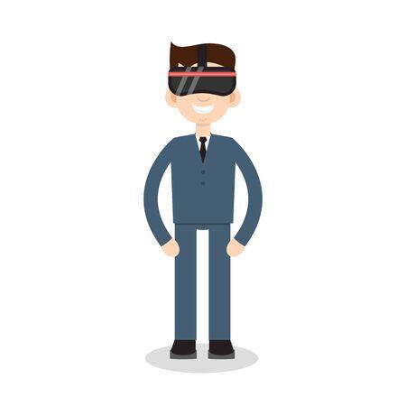 VR helmet man flat icon Vektoros illusztráció