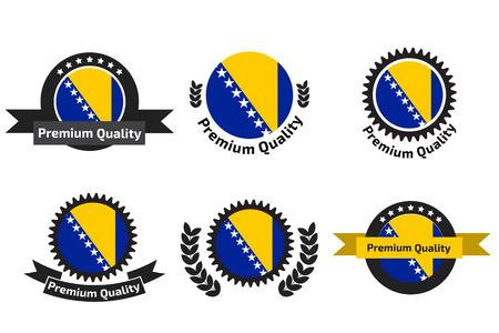 herzegovina: Made in Bosnia and Herzegovina logo set Illustration