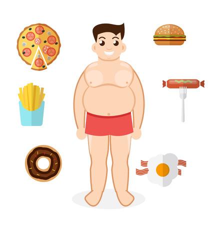 unhealthy lifestyle: Unhealthy lifestyle, fat man, obesity