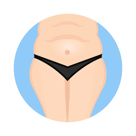 belly fat: Fat belly icon Illustration