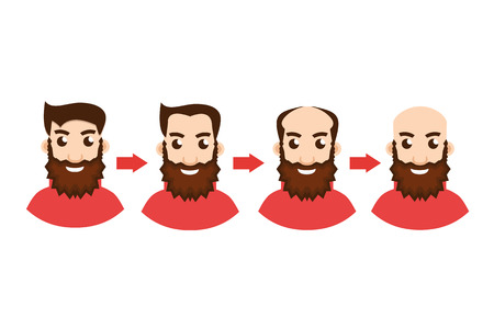 shaved head: Stages Of Hair Loss with arrow