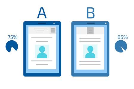 A-B comparison. Split testing concept
