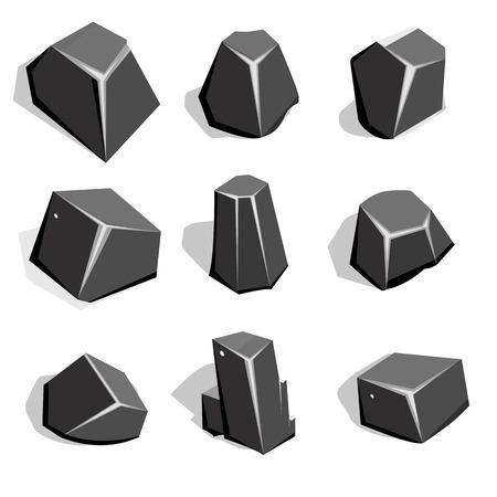 ore: Vector set of coal ore or boulders. Isometric 2D game UI Template