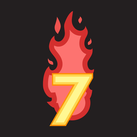 number seven: Flaming Number seven