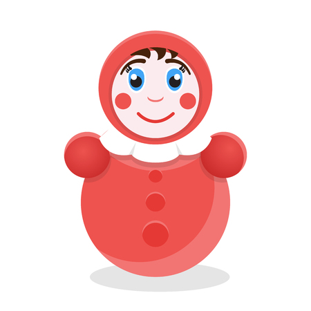 wobbly: Tumbler toy. Roly Poly icon Illustration