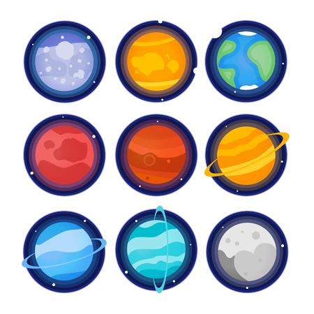 The planets of the solar system set icon. Mercury, Venus, Earth, Mars, Jupiter, Saturn, Uranus, Neptune, Pluto
