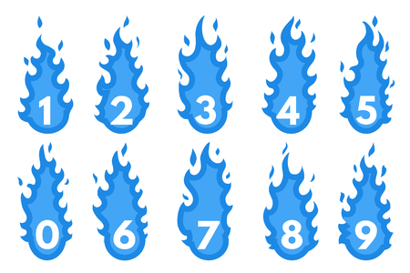 flaming: Flaming Number icons set. Illustration