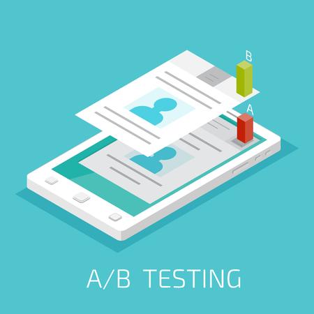 comparison: A-B comparison. Split testing concept
