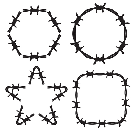 barbed: Frame barbed wire set