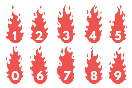 flaming: Flaming Number icons set. Illustration