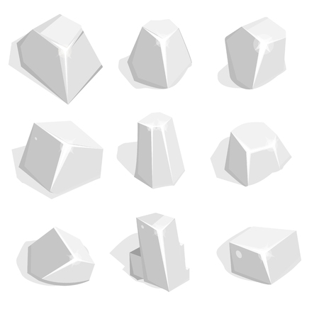 ore: Vector set of silver ore or boulders. Isometric 2D game UI Template