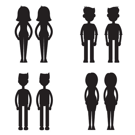 twins together silhouette set